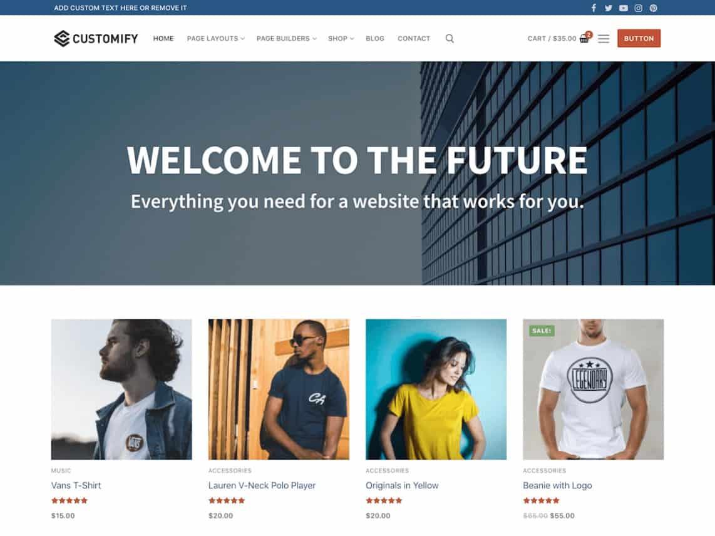 Wordpress Thema Customify https://www.kylianswebdesign.nl/