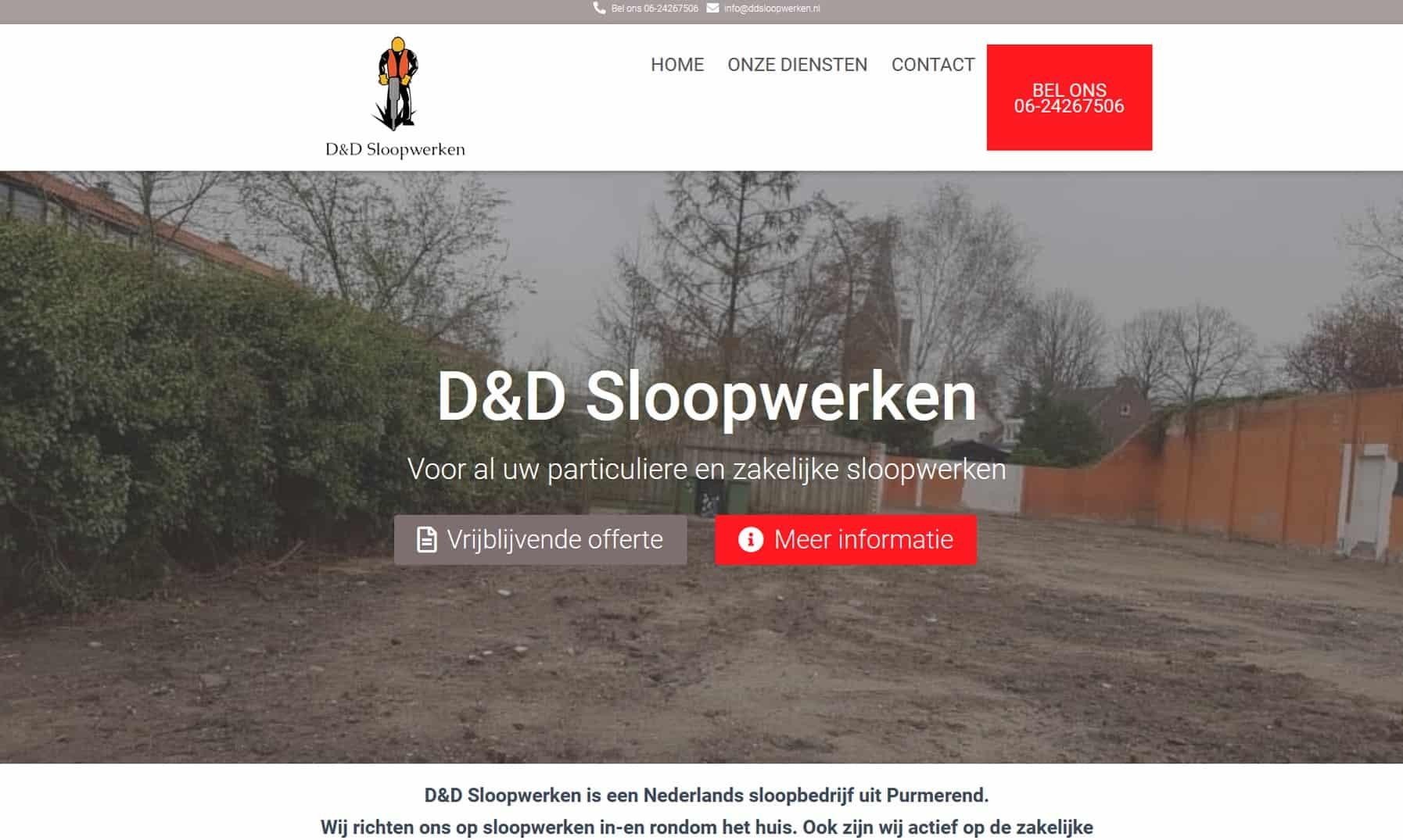 Website ddsloopwerken.nl gemaakt door kylianswebdesign.nl